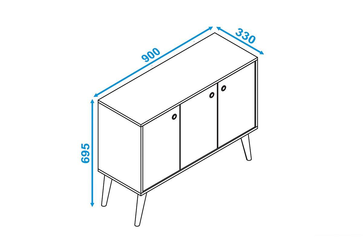 Balcão (Buffet) BRV Wood BPP 62 c/ 3 Portas