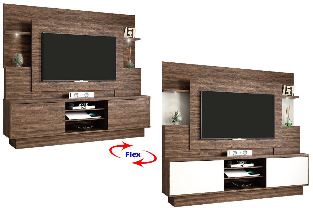 Home Theater Linea Brasil Aron p/ TV 55 WoodCor Cacau / Cacau c/ Off White