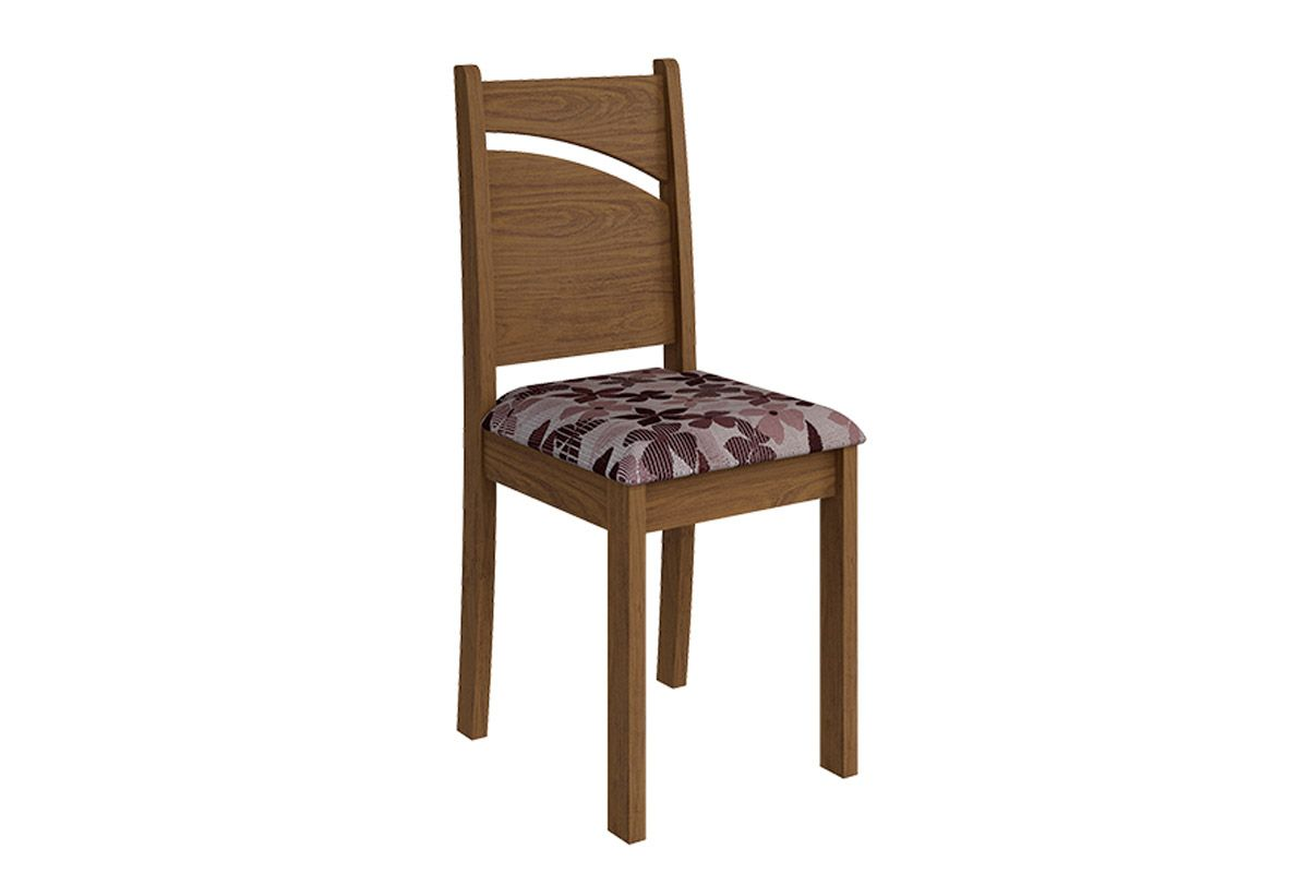 Cadeira Cimol MelissaCor Savana  -  Assento Floral Bordô