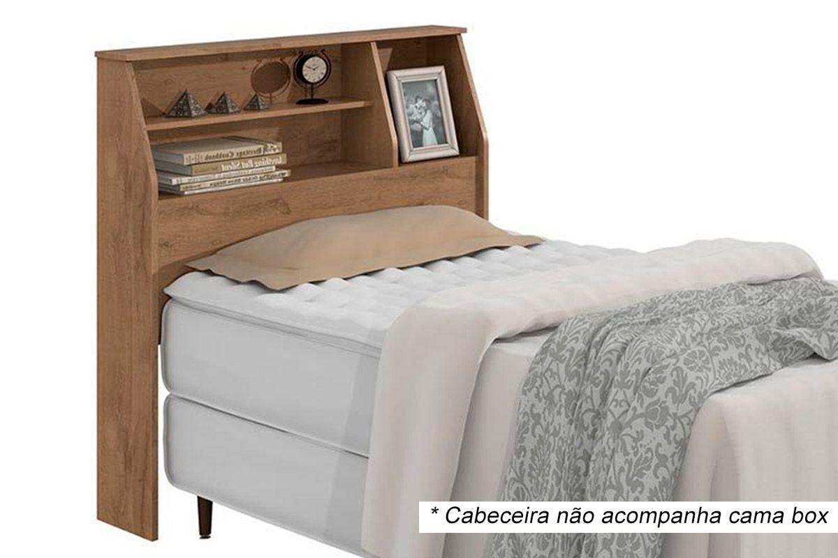Cabeceira Cama Box Solteiro Lopas CastellaroCor Carvalho Naturale