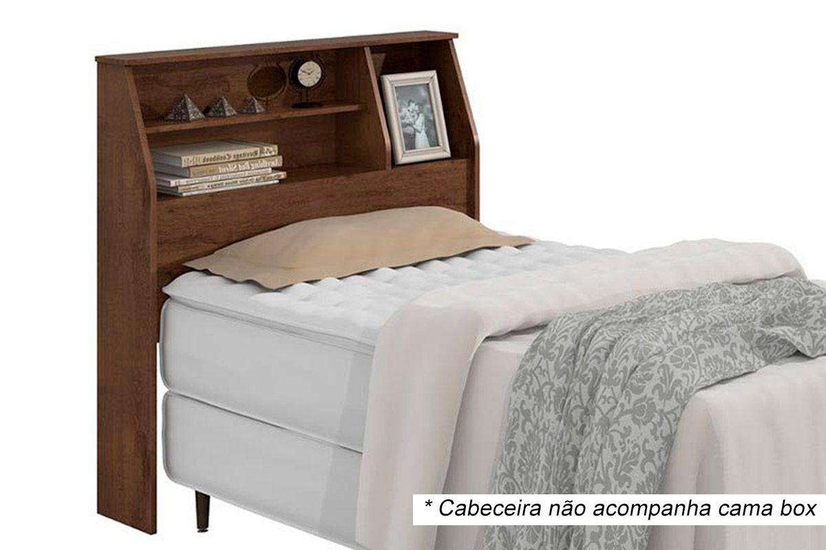 Cabeceira Cama Box Solteiro Lopas CastellaroCor Imbuia Soft