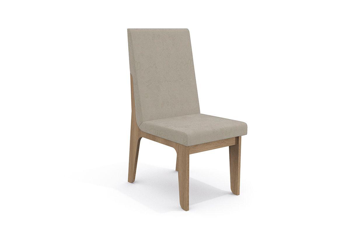 Cadeira Kappesberg Estar 2CAD101 Madeira (2 Unidades)Cor Nogal  -  Assento/Encosto Bege
