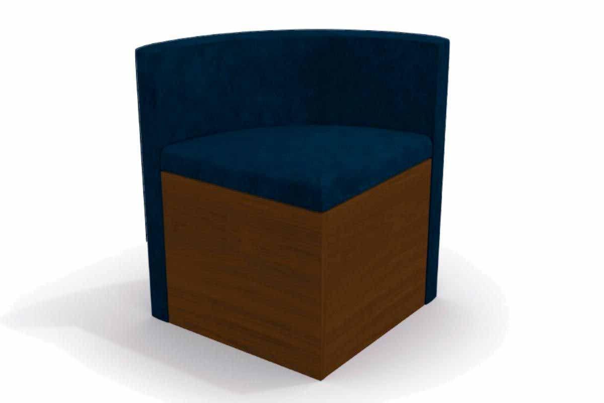 Cadeira Kappesberg Estar 4CAD800 Madeira - 4 UnidadesCor Walnut - Assento/Encosto Azul Marinho D008