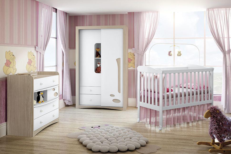 Guarda Roupa Infantil Henn Favo de Mel c/ 1 Porta DeslizanteCor Fendi HP c/ Branco