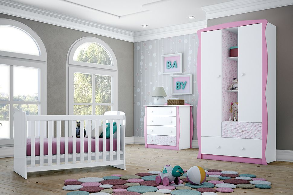 Cômoda Infantil Henn Arco Íris 4 GavetasCor Branco/Rosa-Chá/Mix Rosa-Chá