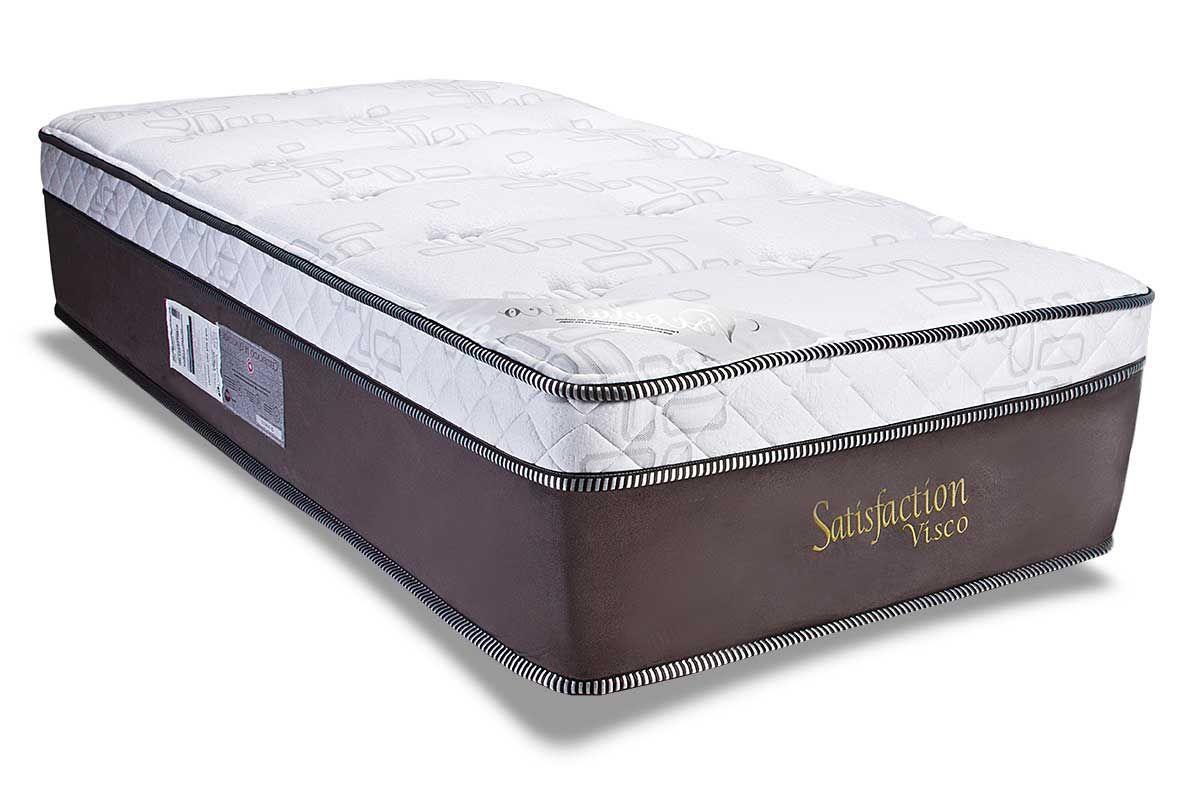 Colchão Luckspuma Molas Pocket Satisfaction Visco SuedColchão Solteiro - 0,88x1,88x0,36 Sem Cama Box