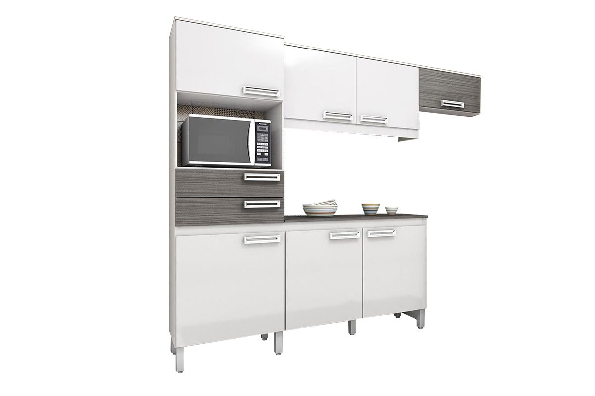 Cozinha Completa (Kit) Henn Briz B107 c/ 4 Peças 7 Pts e 2 Gav.Cor Branco c/ Gris