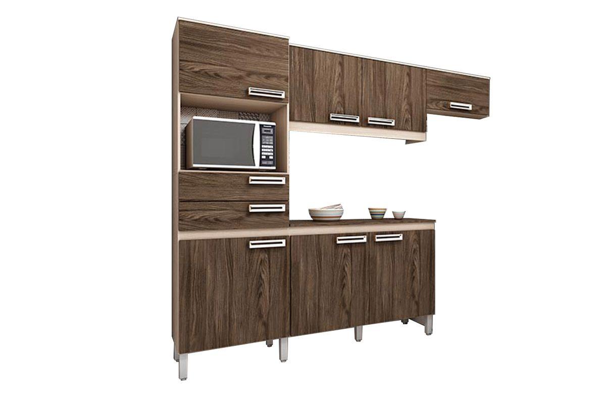 Cozinha Completa (Kit) Henn Briz B107 c/ 4 Peças 7 Pts e 2 Gav.Cor Fendi c/ Moka