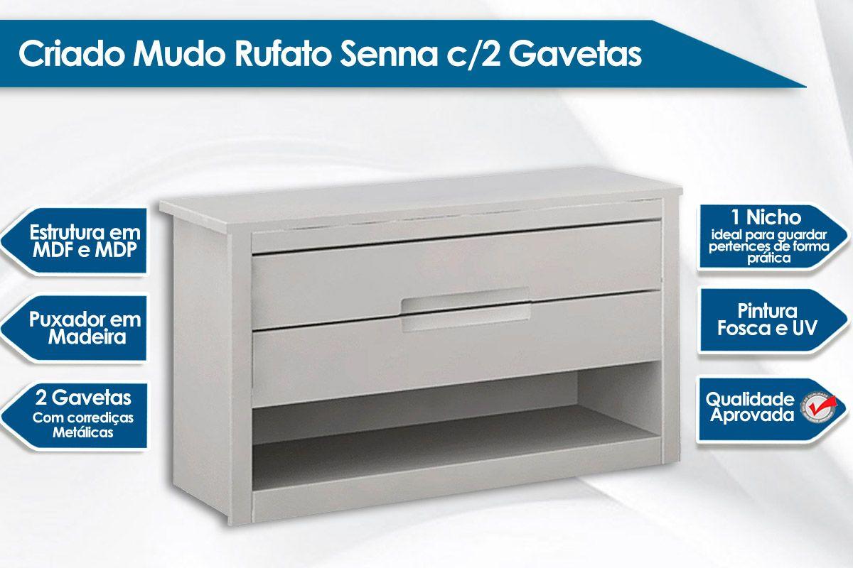 Criado Mudo Rufato Senna c/ 2 Gavetas