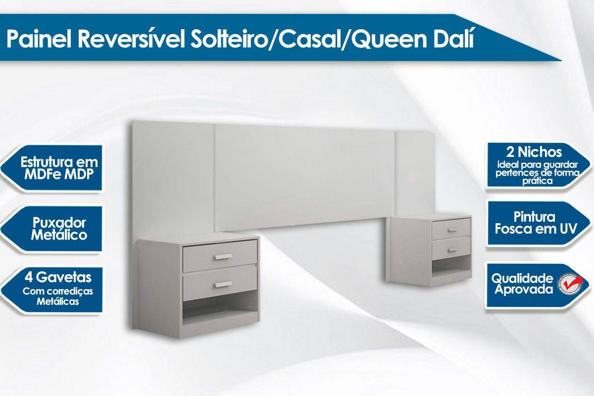 Painel Reversível Solteiro/Casal/Queen Rufato Dalí 2 Criados Mudos