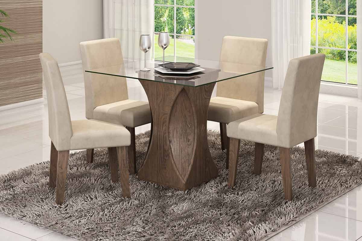 Sala de Jantar Mesa Cimol Andreia 100cm c/ 4 Cadeiras MilenaCor Marrocos  -  Assento/Encosto Sued Bege