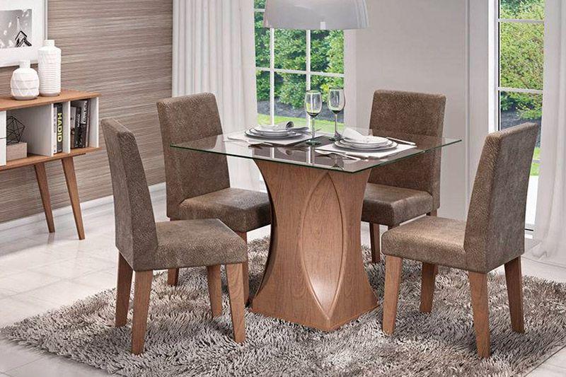Sala de Jantar Mesa Cimol Andreia 100cm c/ 4 Cadeiras MilenaCor Savana- Assento/Encosto Cacau