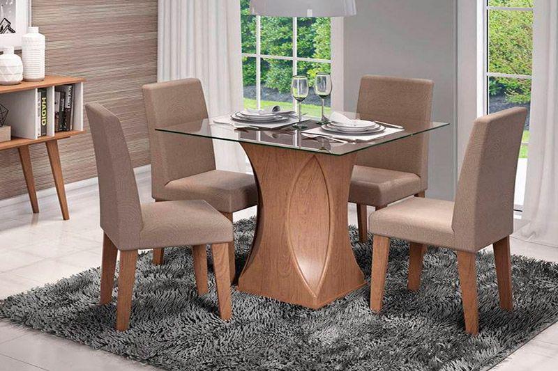 Sala de Jantar Mesa Cimol Andreia 100cm c/ 4 Cadeiras MilenaCor Savana- Assento/Encosto Pluma