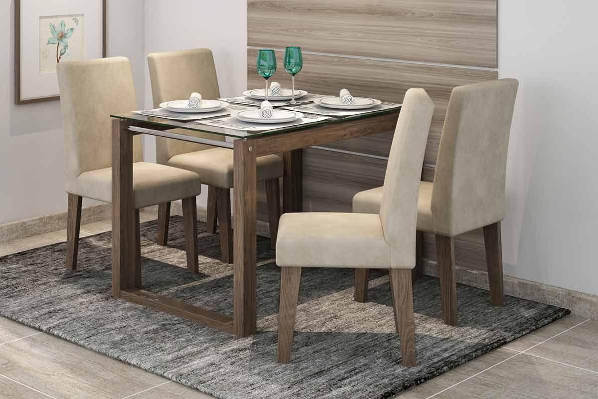 Sala de Jantar Mesa Cimol Anita 120cm c/ 4 Cadeiras MilenaCor Marrocos  -  Assento/Encosto Sued Bege
