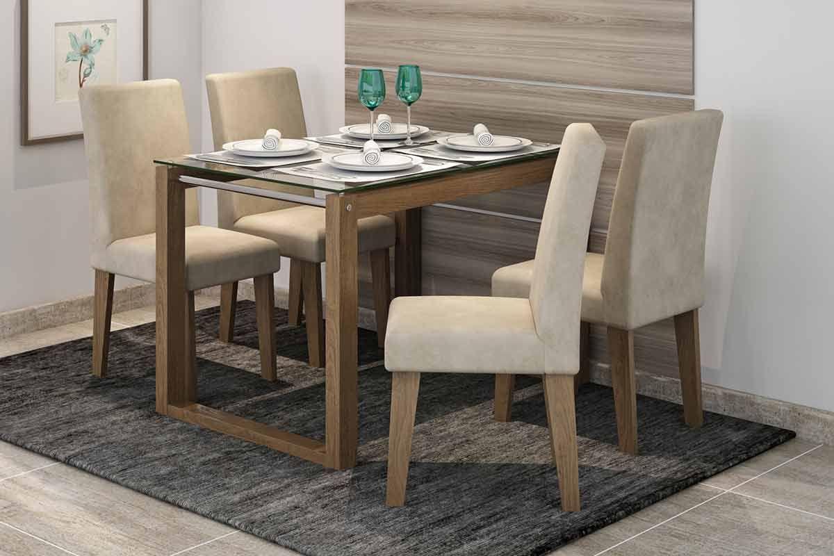 Sala de Jantar Mesa Cimol Anita 120cm c/ 4 Cadeiras MilenaCor Savana  -  Assento/Encosto Sued Bege