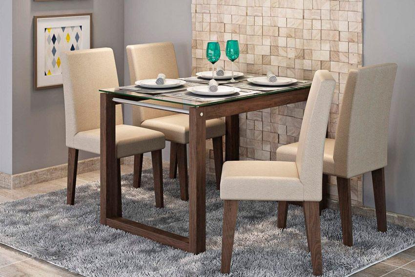 Sala de Jantar Mesa Cimol Anita 120cm c/ 4 Cadeiras MilenaCor Marrocos  -  Assento/Encosto Caramelo