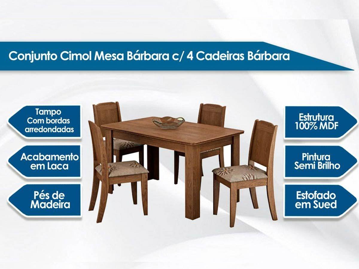 Sala de Jantar Mesa Cimol Bárbara 136cm c/ 4 Cadeiras Bárbara