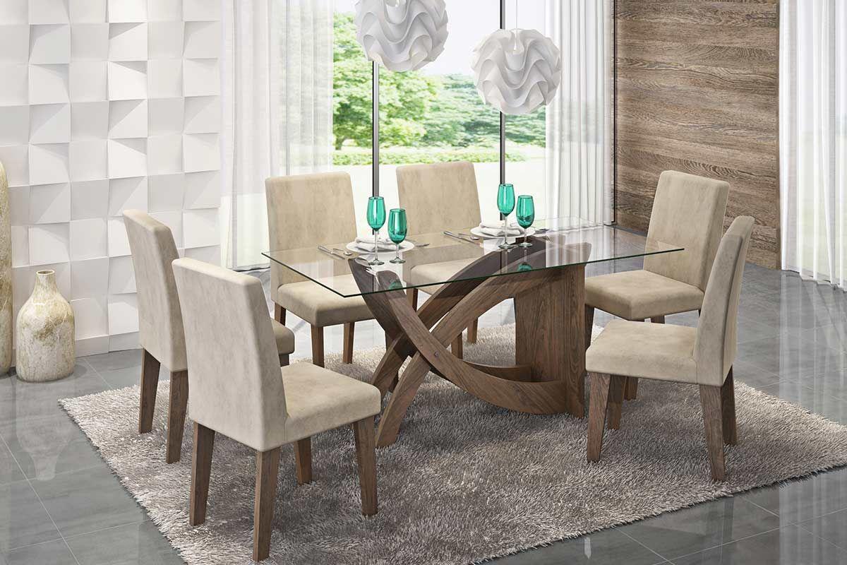 Sala de Jantar Mesa Cimol Flávia 180cm c/ 6 Cadeiras MilenaCor Marrocos  -  Assento/Encosto Sued Bege