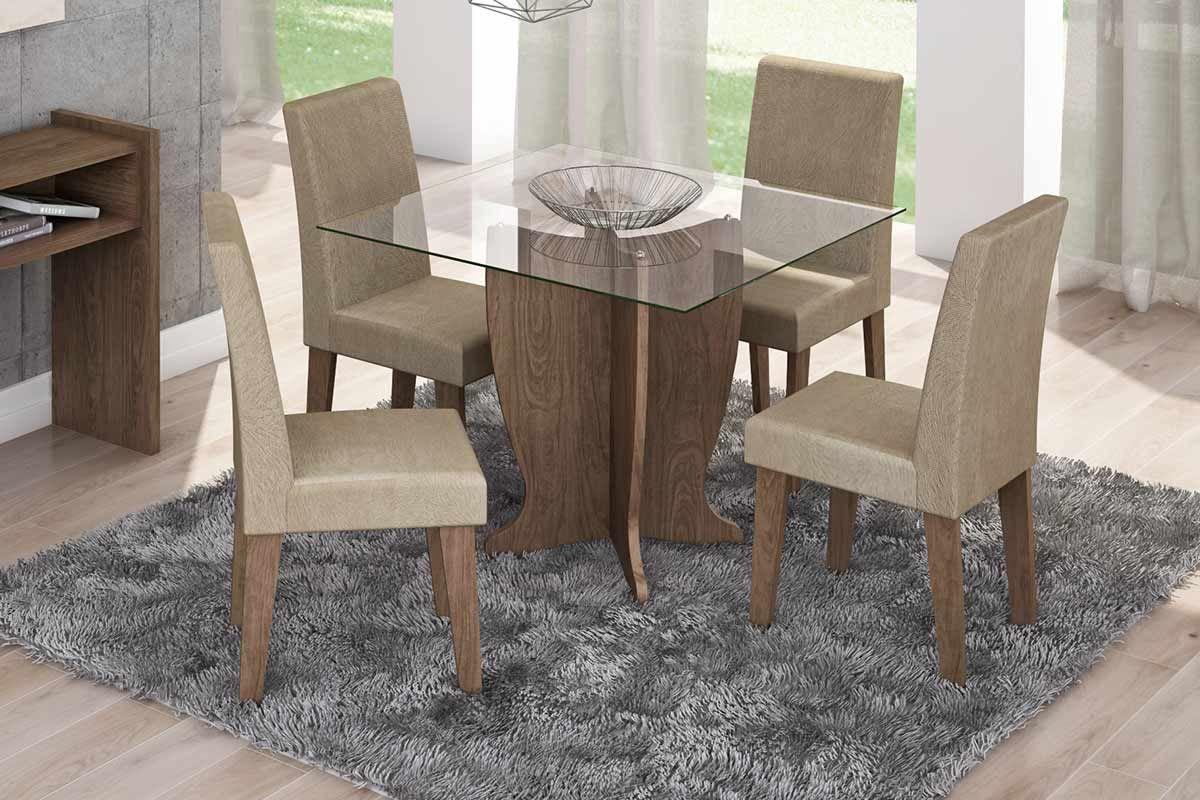 Sala de Jantar Mesa Cimol Luana 100cm Marrocos c/ 4 Cadeiras MilenaCor Marrocos  -  Assento/Encosto Caramelo