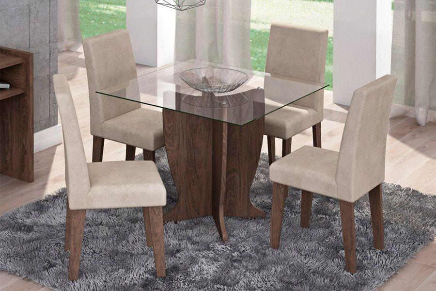Sala de Jantar Mesa Cimol Luana 100cm Marrocos c/ 4 Cadeiras MilenaCor Marrocos  -  Assento/Encosto Sued Bege