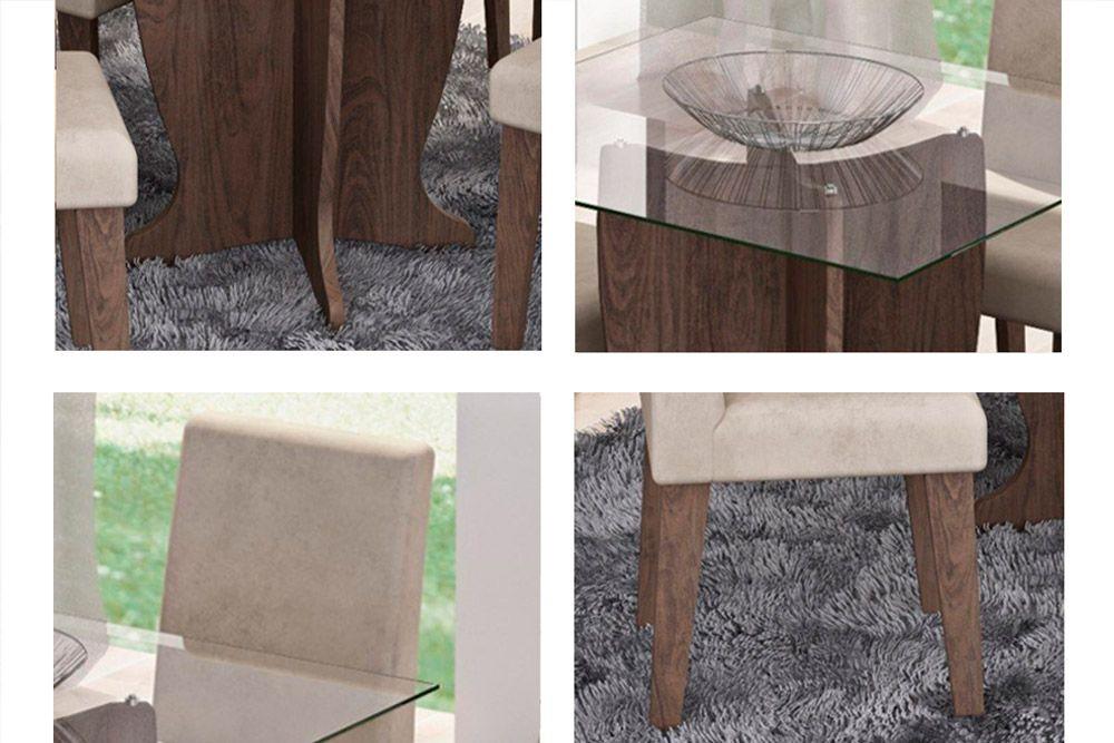 Sala de Jantar Mesa Cimol Luana 100cm Marrocos c/ 4 Cadeiras Milena-Cor Savana - Assento/Encosto Sued Bege