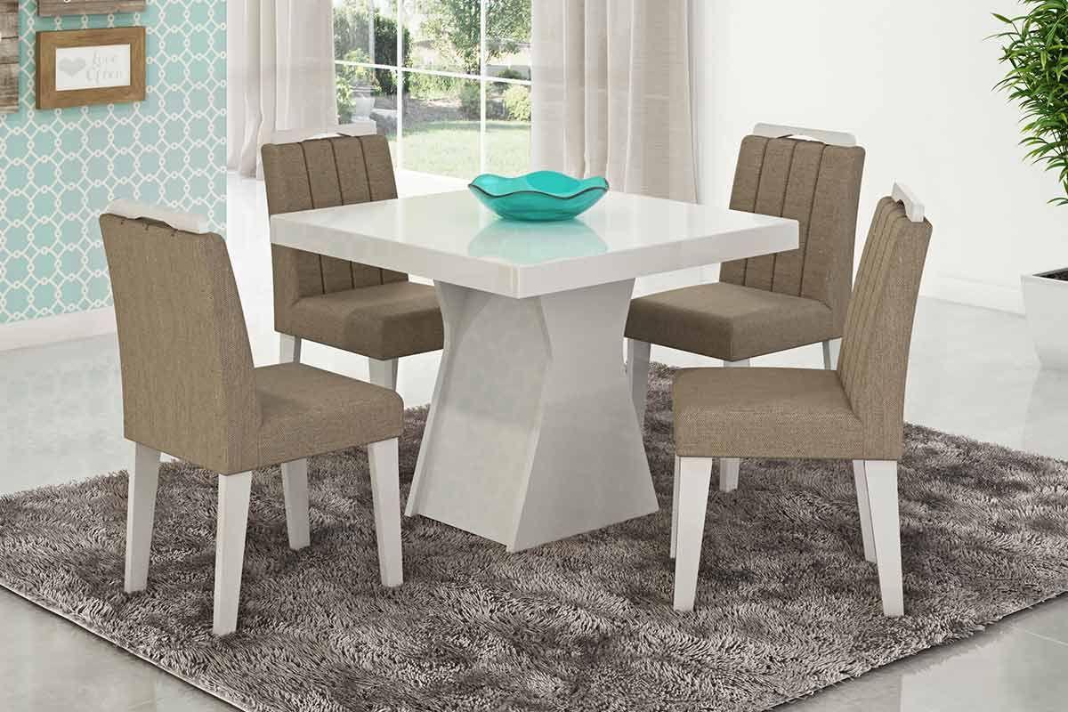 Sala de Jantar Mesa Cimol Olívia Branco c/ Vidro Branco 100cm c/ 4 Cadeiras Elisa