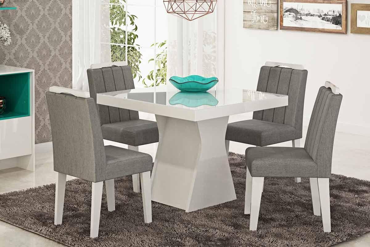 Sala de Jantar Mesa Cimol Olívia Branco c/ Vidro Branco 100cm c/ 4 Cadeiras ElisaCor Branco  -  Assento/Encosto Platina