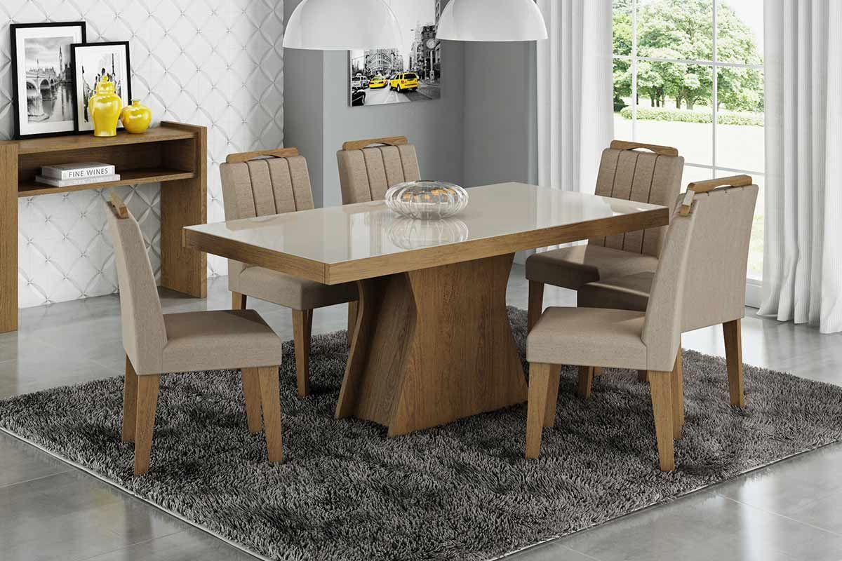 Sala de Jantar Cimol Mesa Olívia Savana c/ Vidro Off White 180cm c/ 6 Cadeiras ElisaCor Savana  -  Assento/Encosto Canela