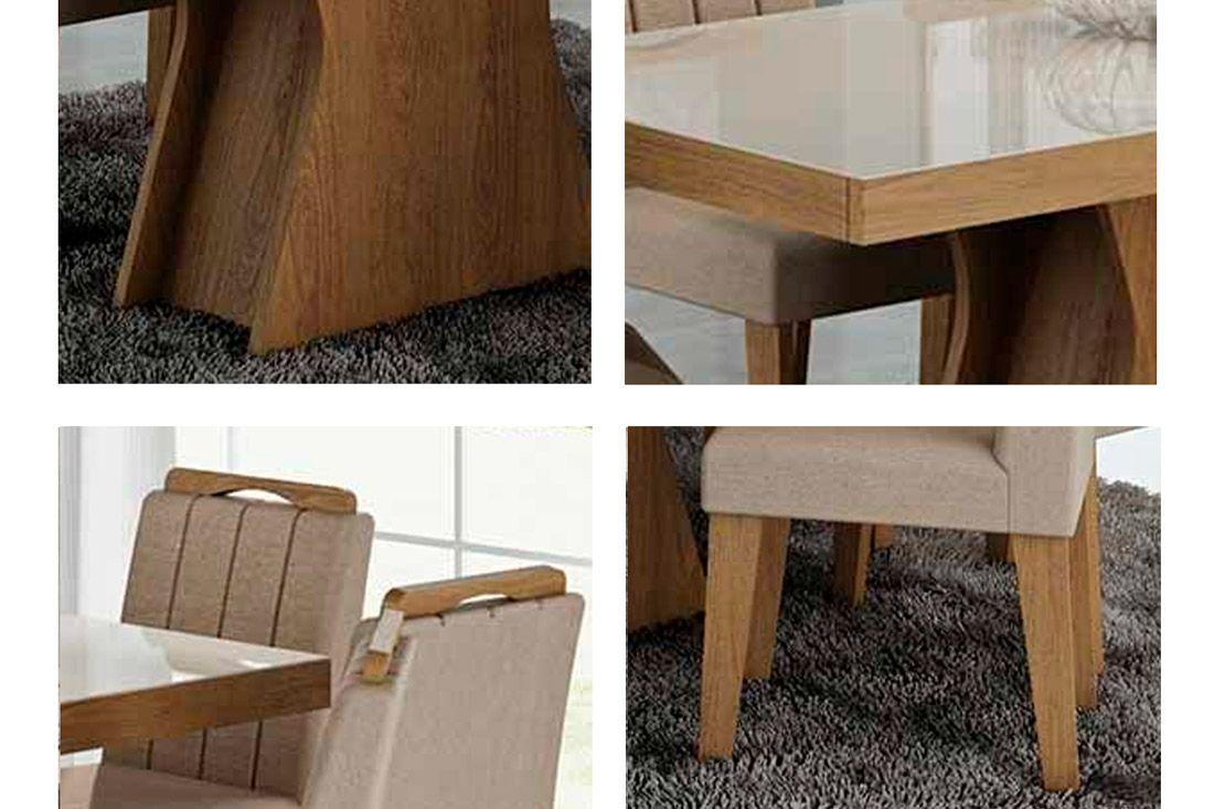 Sala de Jantar Cimol Mesa Olívia Savana c/ Vidro Off White 180cm c/ 6 Cadeiras Elisa