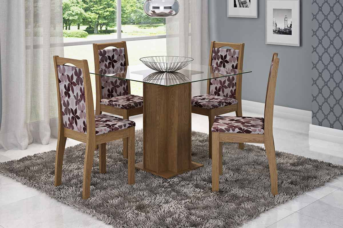 Sala de Jantar Cimol Mesa Sophia 100cm c/ 4 Cadeiras Lívia-Cor Savana - Assento/Encosto Floral BordôCor Savana  -  Assento/Encosto Floral Bordô