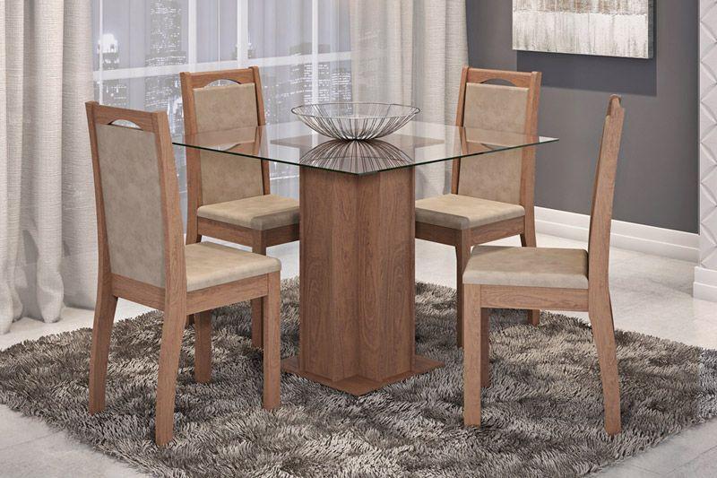 Sala de Jantar Cimol Mesa Sophia 100cm c/ 4 Cadeiras LíviaCor Savana - Assento/Encosto Sued Marfin