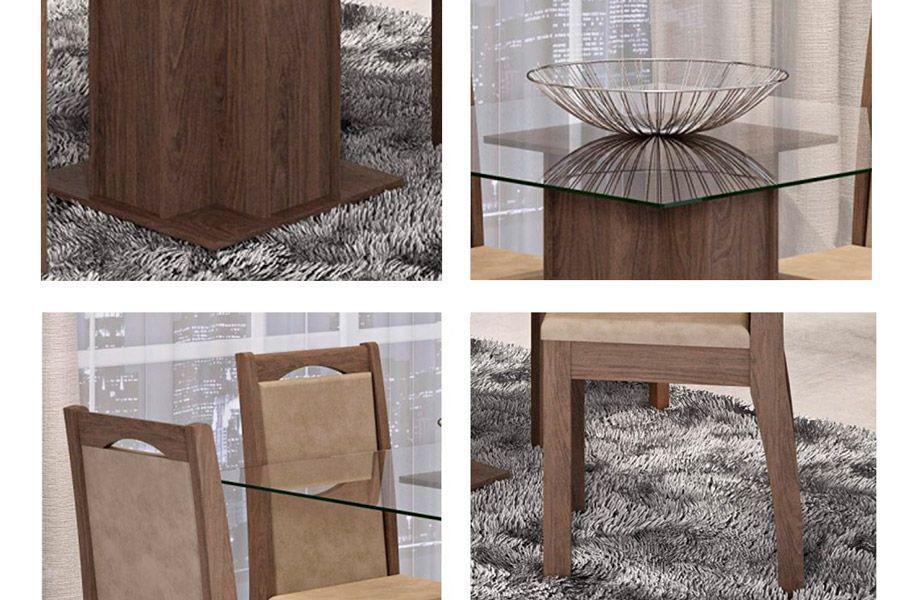 Sala de Jantar Cimol Mesa Sophia 100cm c/ 4 Cadeiras Lívia-Cor Savana - Assento/Encosto Floral Bordô
