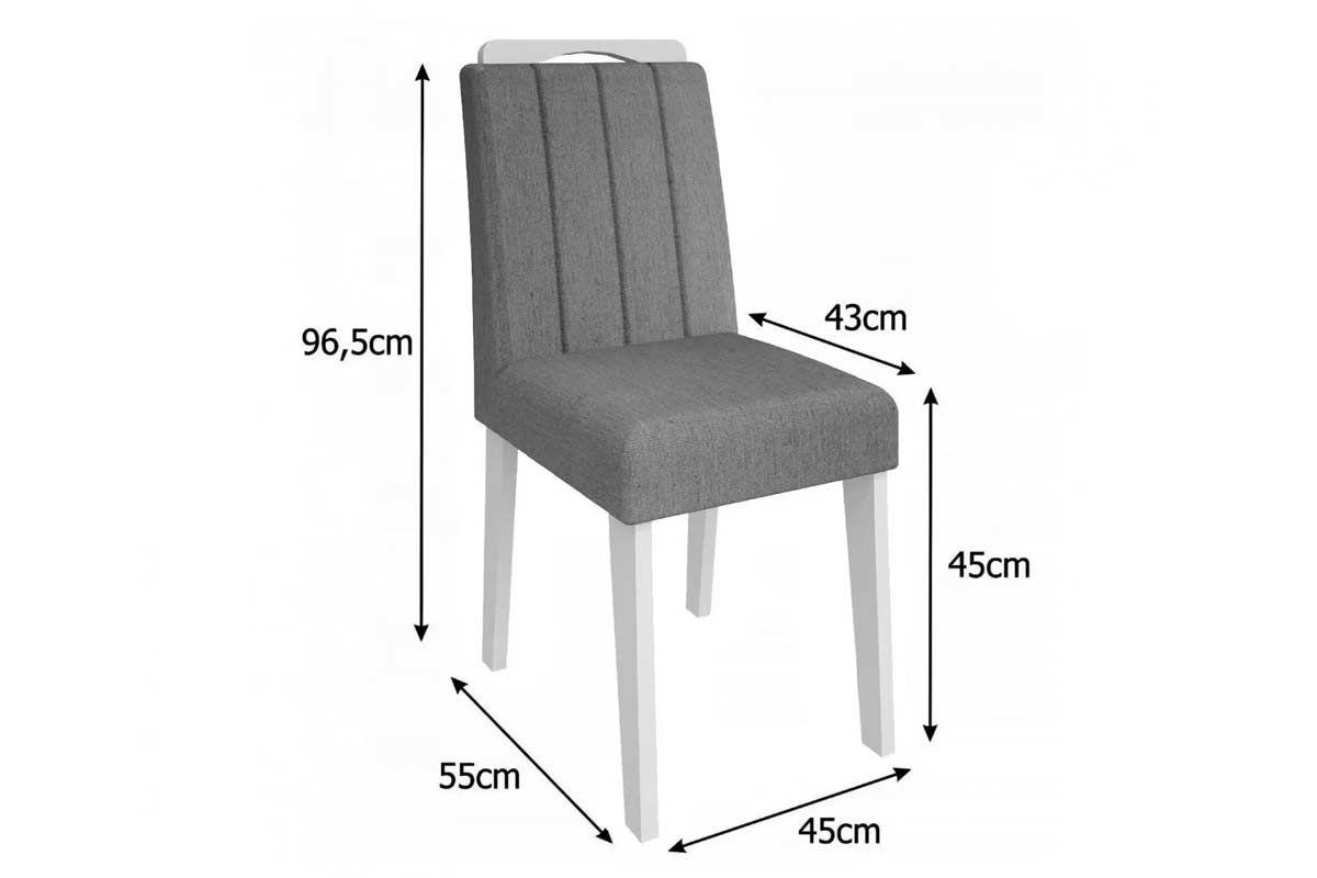 Sala de Jantar Mesa Cimol Olívia Branco c/ Vidro Branco 180cm c/ 6 Cadeiras Elisa