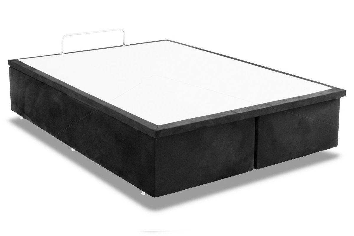 Cama Box Baú Ortobom Camurça CinzaCama Box Queen Size - 1,58x1,98x0,35 - Sem Colchão