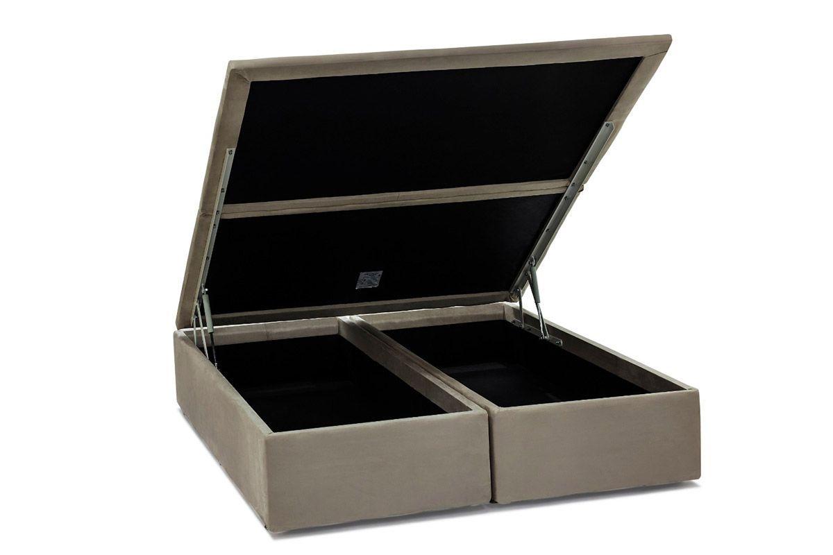Cama Box Baú Ortobom Camurça Bege Crema-  Box Baú King Size - 1,86x1,98x0,35 - Bipartida