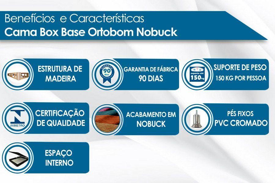 Cama Box Baú Ortobom Camurça Bege Crema