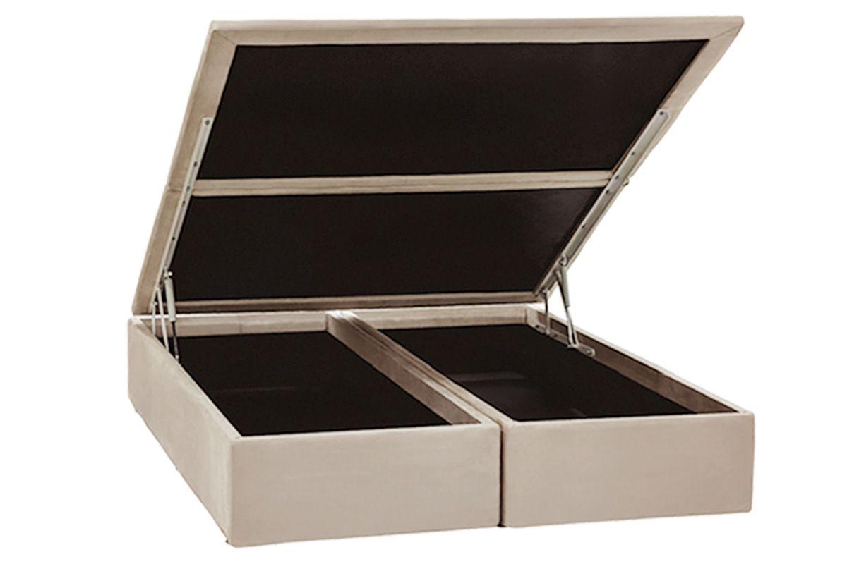 Cama Box Baú Ortobom Camurça Bege Crema-  Box Baú King Size - 1,93x2,03x0,35 - Bipartida