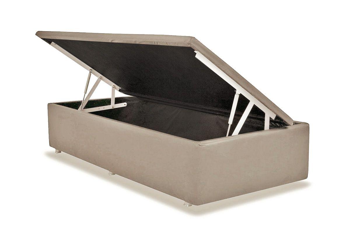 Cama Box Baú Ortobom Courino Bege Crema- Box Baú Physical Solteiro - 0,88x1,88 - Inteiriça
