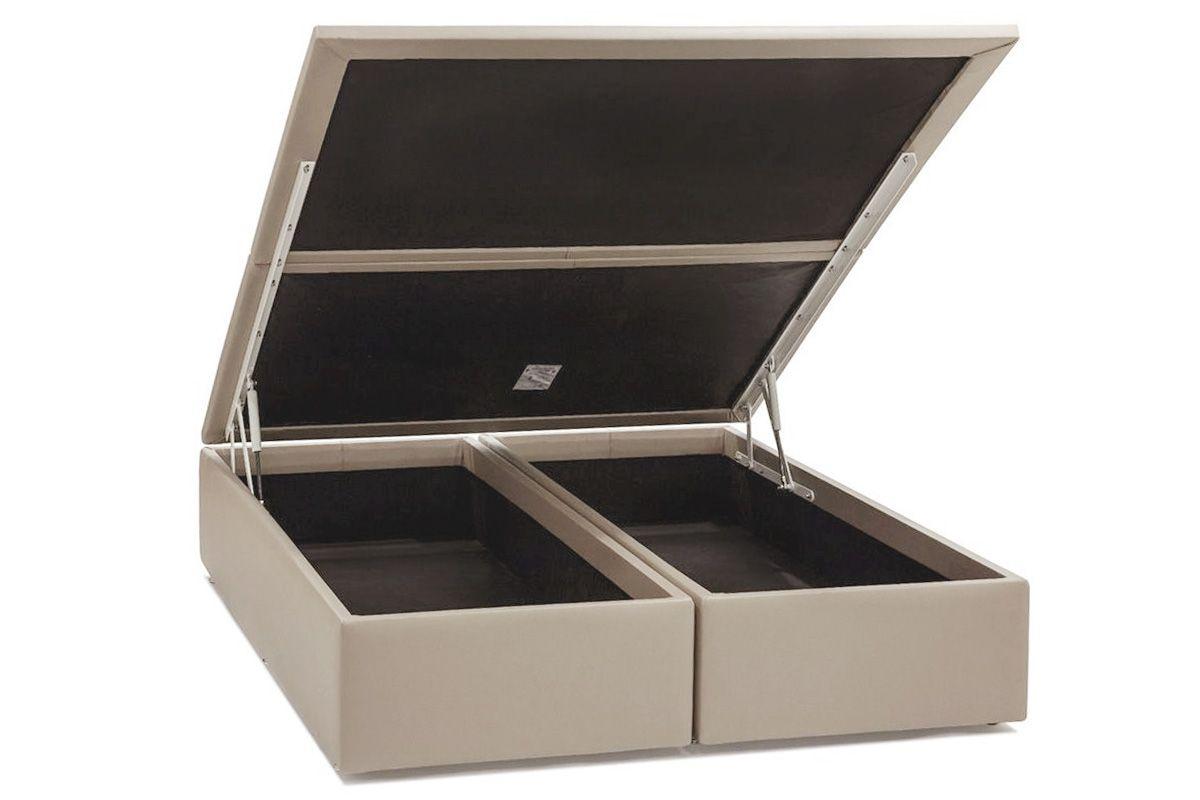 Cama Box Baú Ortobom Courino Bege Crema-  Box Baú King Size - 1,86x1,98x0,35 - Bipartida