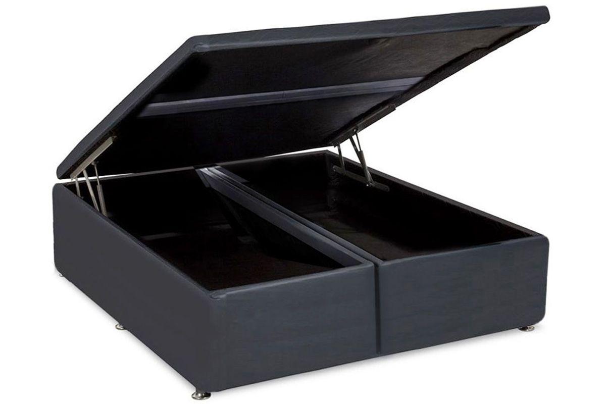 Cama Box Baú Ortobom Courino Cinza-  Box Baú King Size - 1,86x1,98x0,35 - Bipartida