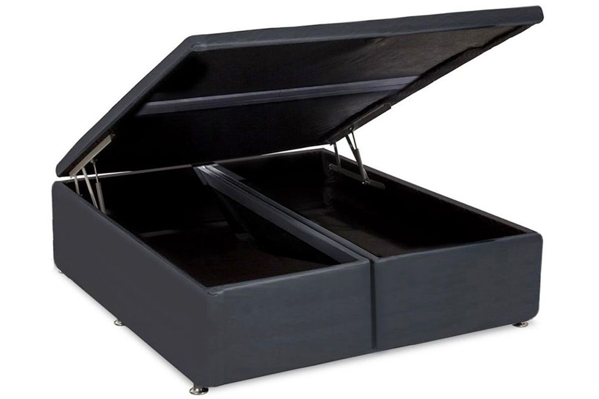 Cama Box Baú Ortobom Courino Cinza-  Box Baú King Size - 1,93x2,03x0,35 - Bipartida