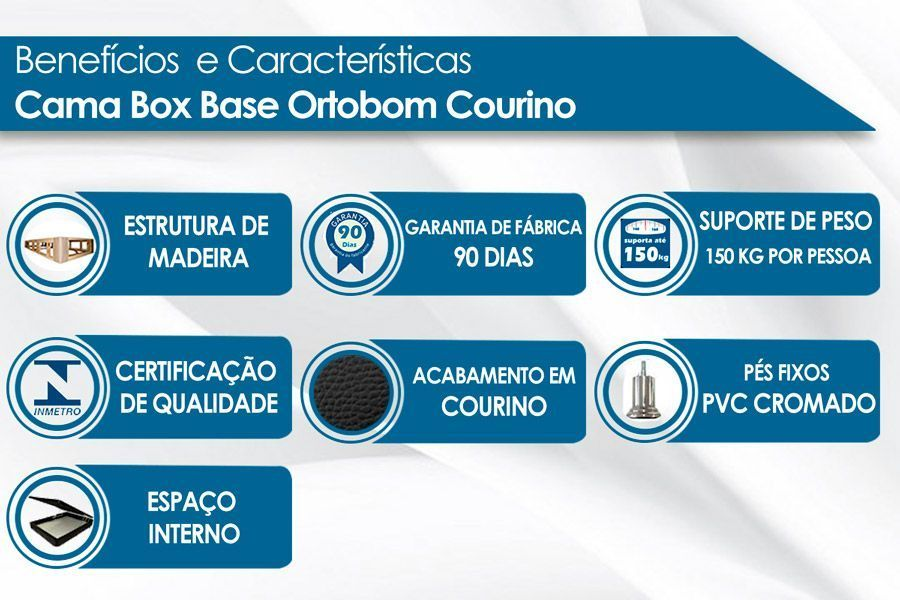 Cama Box Baú Ortobom Courino Cinza