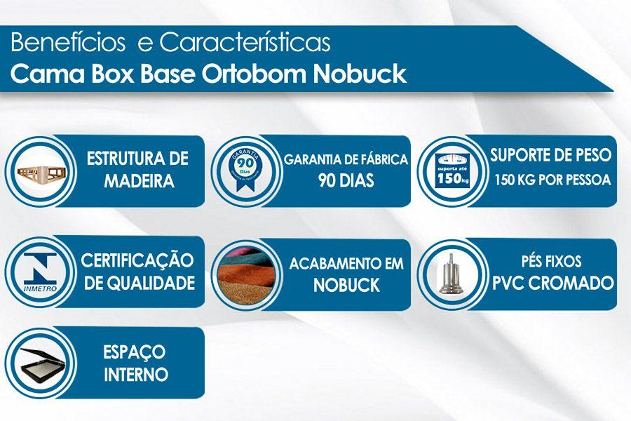 Cama Box Baú Ortobom Camurça Nero