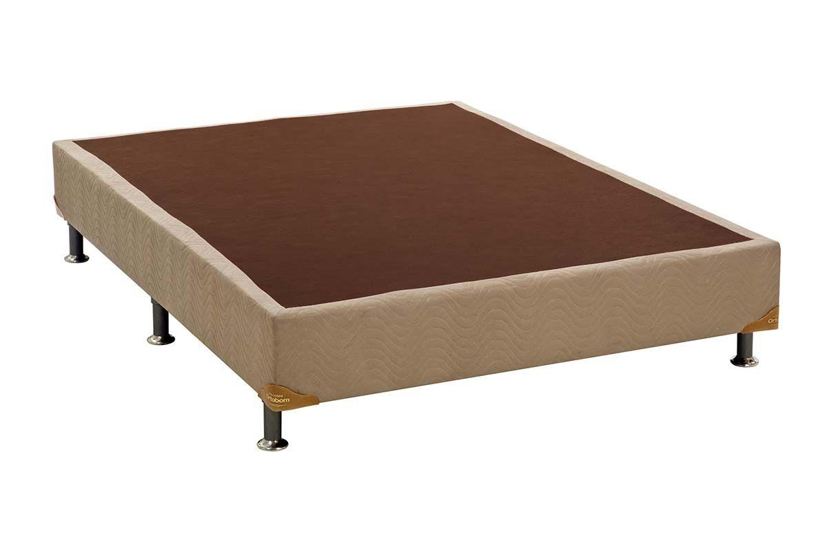 Cama Box Base Universal Nobuck Bege Crema 20Cama Box Casal - 1,38x1,88x0,20 - Sem Colchão