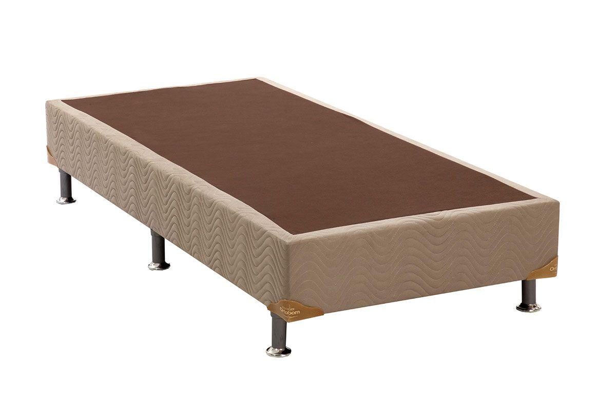 Cama Box Base Universal Nobuck Bege Crema 20Cama Box Solteiro - 0,88x1,88x0,20 - Sem Colchão