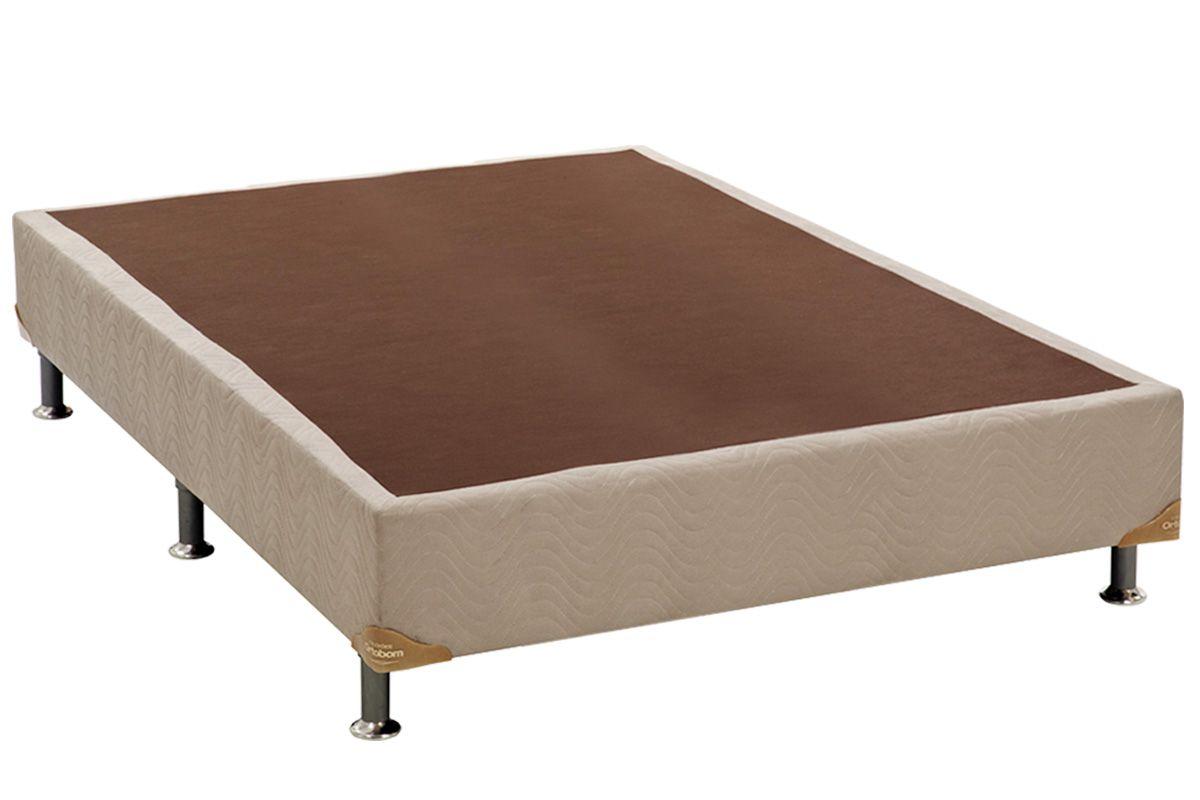 Cama Box Base Universal Nobuck Bege Crema 20Cama Box Casal Inteiriço - 1,28x1,88x0,20 - Sem Colchão