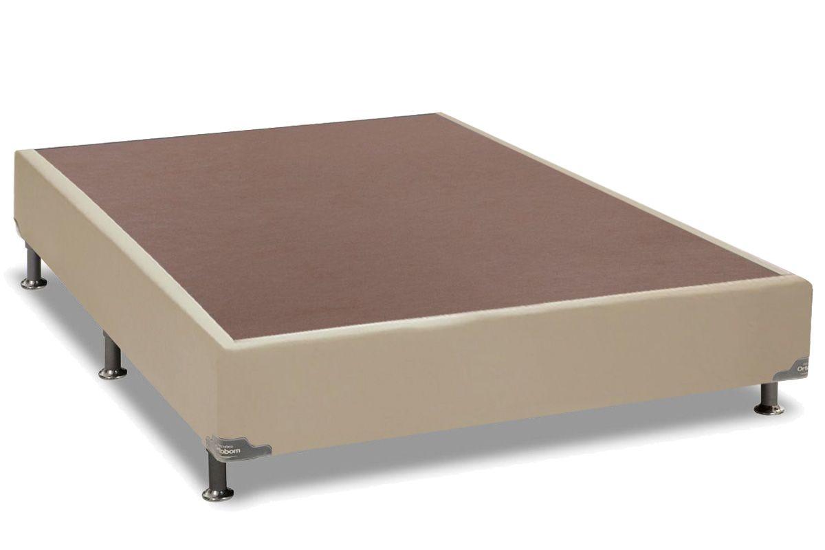 Cama Box Base Universal Couríno Bege Crema 20Cama Box Casal - 1,28x1,88x0,20 - Sem Colchão