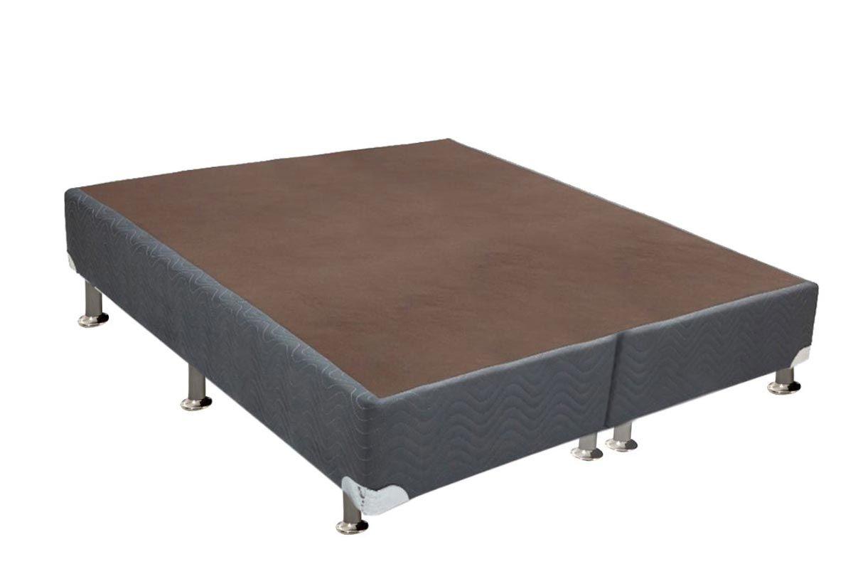 Cama Box Base Universal Nobuck Cinza 20Cama Box King Size - 1,93x2,03x0,20 - Sem Colchão