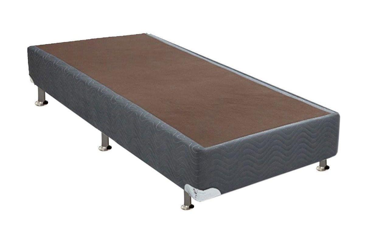 Cama Box Base Universal Nobuck Cinza 20Cama Box Solteiro - 0,88x1,88x0,20 - Sem Colchão