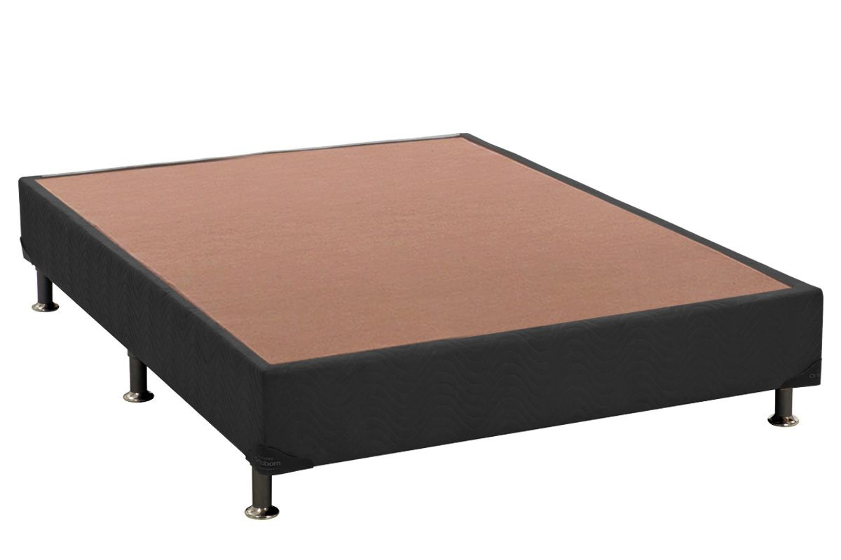 Cama Box Base Universal Nobuck Cinza 20Cama Box Casal Inteiriço - 1,28x1,88x0,20 - Sem Colchão